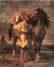 delacroix Arab mounting a horse 183x